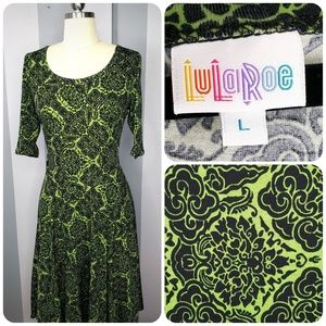 LuLaRoe L NICOLE - Green Black Damask - Like New